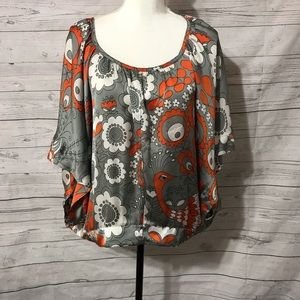 😃 ivy Jane  retro print top size small